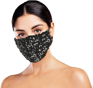 Black Bling Face Covering with 4 Filters
