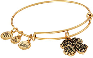 Four Leaf Clover Charm Bangle Bracelet