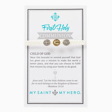 Load image into Gallery viewer, My Saint My Hero First Holy Communion Child of God Bracelet White