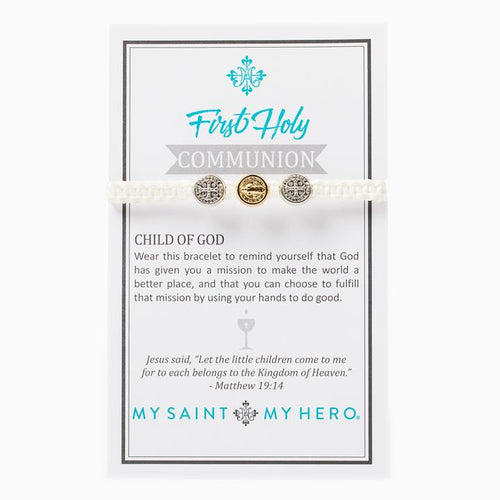 My Saint My Hero First Holy Communion Child of God Bracelet White