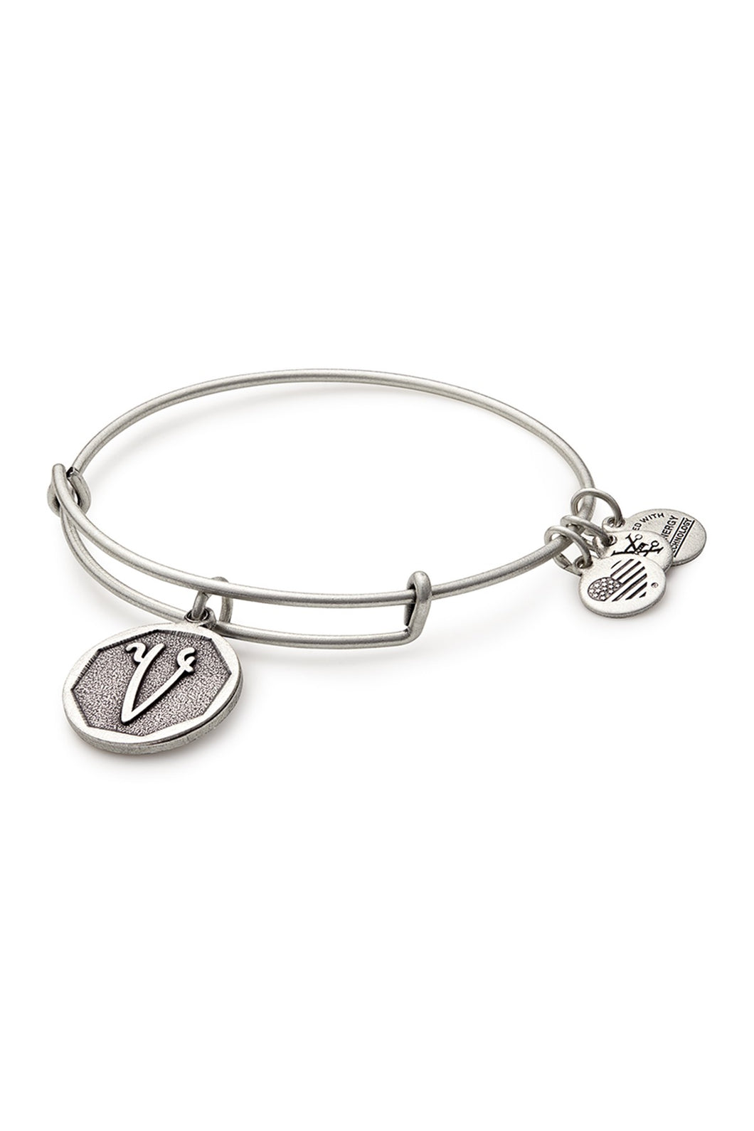 Alex and Ani Initial V Bangle Silver
