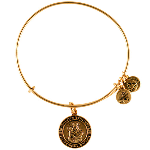 Alex and Ani Saint Christopher Charm Bangle Gold