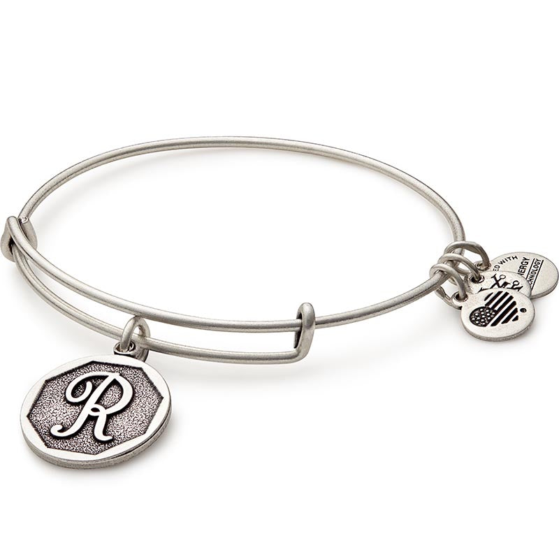 Alex and Ani Initial R Bangle Silver
