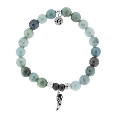 T. Jazelle Amazonite Stone Bracelet with Angel Wing Sterling Silver Charm