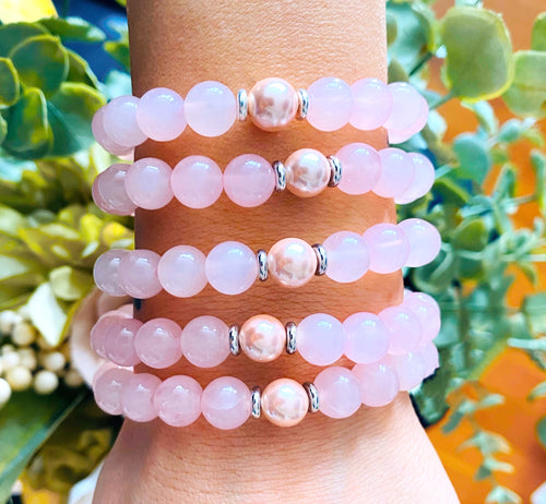 T. Jazelle Elegance Collection - Rose Quartz Stone Bracelet with Pink Peal Accent