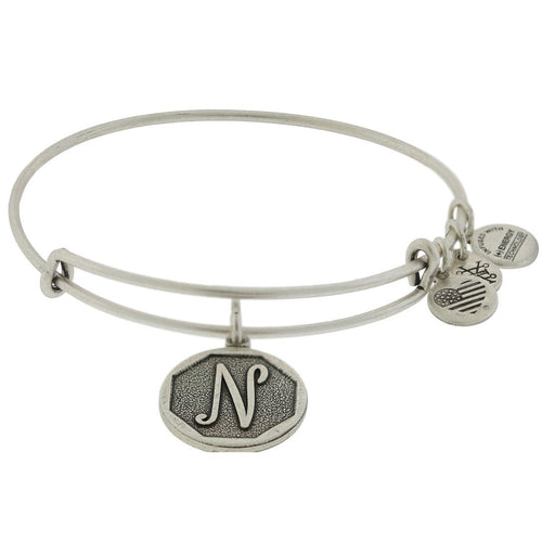 Alex and Ani Initial N Bangle Silver