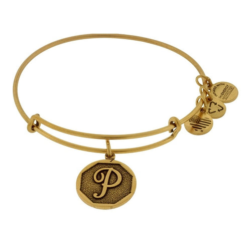 Alex and Ani Initial P Bangle Gold