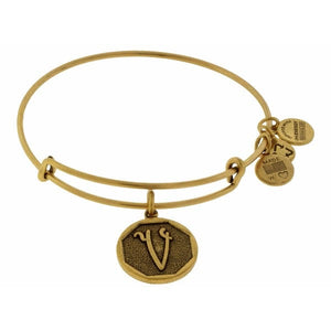 Alex and Ani Initial V Bangle Gold