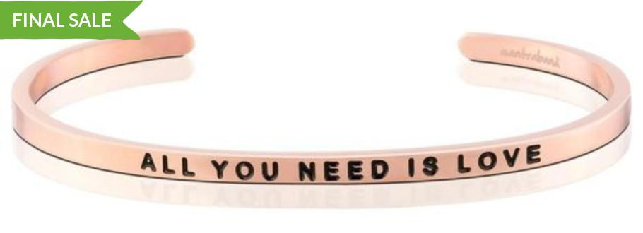 Mantraband Bracelet All You Need Is Love - Rose Gold