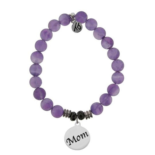 T. Jazelle Amethyst Stone Bracelet with Mom Endless Love Sterling Silver Charm