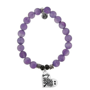 T. Jazelle Amethyst Stone Bracelet with Family Tree Sterling Silver Charm