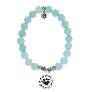 T. Jazelle Apatite Stone Bracelet with Paw Print Sterling Silver Charm