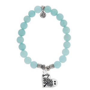 T. Jazelle Ampatite Stone Bracelet with Family Tree Sterling Silver Charm