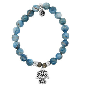 T. Jazelle Arctic Apatite Stone Bracelet with Hand of God Sterling Silver Charm