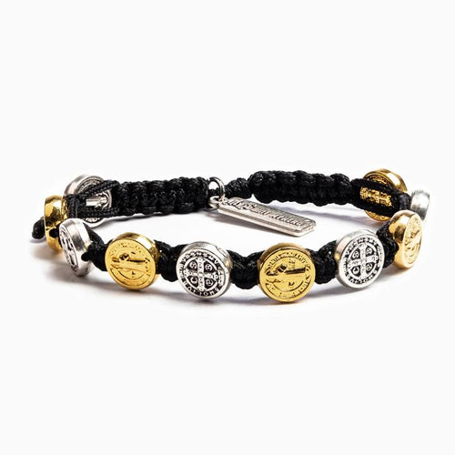 My Saint My Hero Benedictine Blessing Bracelet Black with Mixed medals