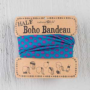 Half Boho Bandeau Turquoise and Pink Dot