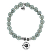 Load image into Gallery viewer, T. Jazelle Grey Agate Stone Bracelet with Paw Print Sterling Silver Charm
