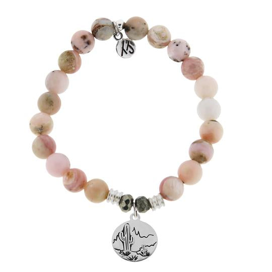 T. Jazelle Pink Opal Stone Bracelet with Cactus Sterling Silver Charm