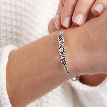 Load image into Gallery viewer, Luca+ Danni Claddagh Bangle Bracelet - Petite/Silver Tone