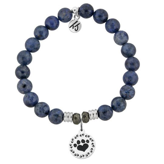 T. Jazelle Dumortierite Stone Bracelet with Paw Print Sterling Silver Charm