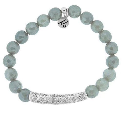 T. Jazelle Elegance Collection - Grey Agate Stone Bracelet with Silver Crystal Bar