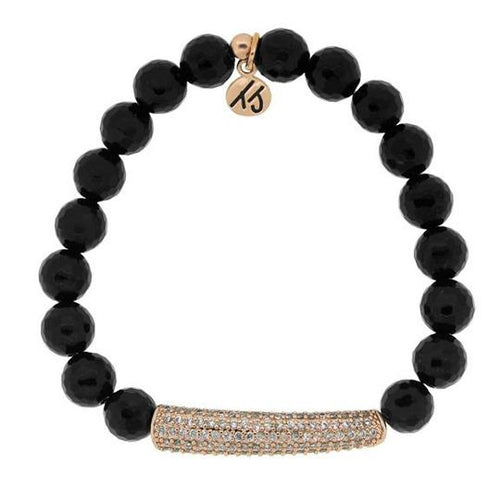 T. Jazelle Elegance Collection - Onyx Stone Bracelet with Rose Gold Crystal Bar