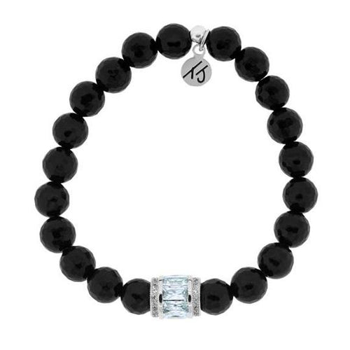 T. Jazelle Elegance Collection - Onyx Stone Bracelet with Crystal