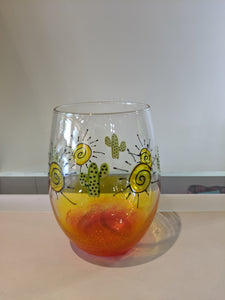 Cactus Sunset Hand Painted Stemless Wine Glass