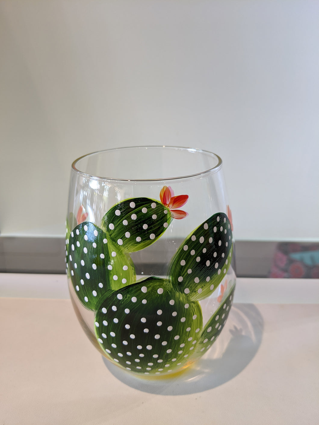 Prickly Pear Large Cactus Hand Painted Stemless Wine Glass