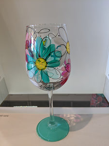 40th Birthday Hand Painted Stemmed Wine Glass