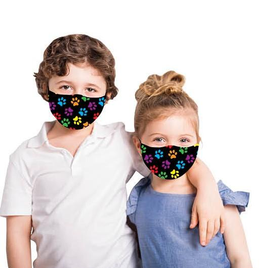 Kids - Multi Paw Prints Fashion Face Covering with 4 Filters Size Medium/Large