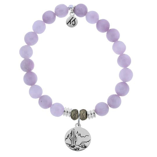 T. Jazelle Kunzite Stone Bracelet with Cactus Sterling Silver Charm