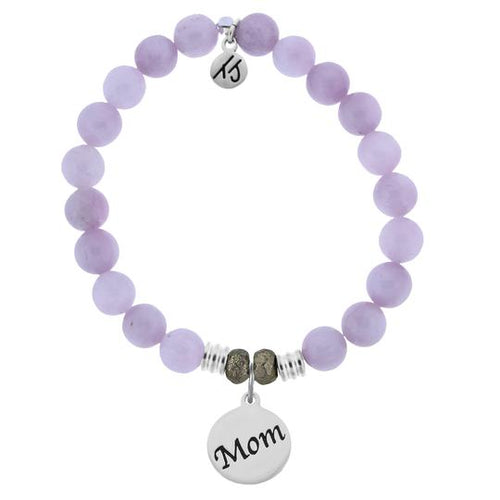 T. Jazelle Kunzite Stone Bracelet with Mom Endless Love Sterling Silver Charm