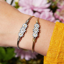 Load image into Gallery viewer, Luca+ Danni Daisies Bangle Bracelet - Petite/Silver Tone