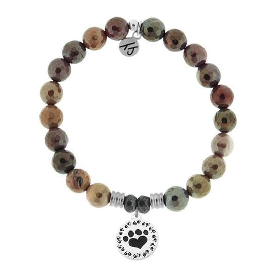 T. Jazelle Mookaite Stone Bracelet with Paw Print Sterling Silver Charm