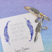Load image into Gallery viewer, Luca+ Danni Mini Lucky Feather Bangle Bracelet - Petite/Silver Tone