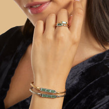 Load image into Gallery viewer, Luca+ Danni Mini Hudson Bangle Bracelet in Pine - Petite/Silver Tone