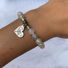 Load image into Gallery viewer, T. Jazelle Moonstone Stone Bracelet with Family Tree Sterling Silver Charm