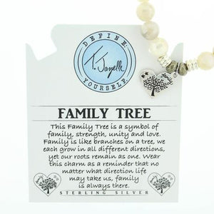 T. Jazelle Moonstone Stone Bracelet with Family Tree Sterling Silver Charm