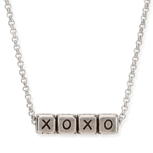 Luca + Danni Xoxo Blocks Necklace- Silver Plated