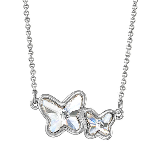 Luca + Danni Butterflies Necklace in Crystal - Silver Plated