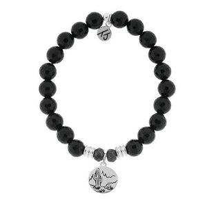 T. Jazelle Onyx Stone Bracelet with Cactus Sterling Silver Charm