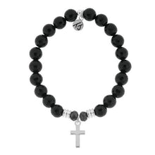 Load image into Gallery viewer, T. Jazelle Onyx Stone Bracelet with Cross Sterling Silver Charm
