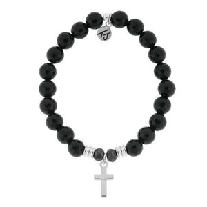 T. Jazelle Onyx Stone Bracelet with Cross Sterling Silver Charm