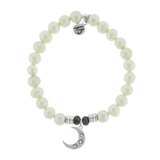 T. Jazelle White Pearl Stone Bracelet with Friendship Stars Sterling Silver Charm