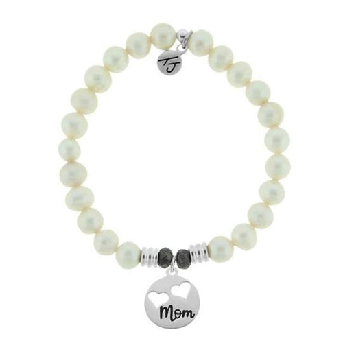 T. Jazelle White Pearl Stone Bracelet with Mom hearts Sterling Silver Charm
