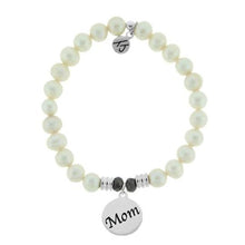 Load image into Gallery viewer, T. Jazelle White Pearl Stone Bracelet with Mom Endless Love Sterling Silver Charm