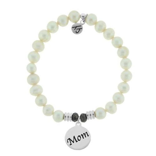 T. Jazelle White Pearl Stone Bracelet with Mom Endless Love Sterling Silver Charm