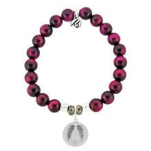 Load image into Gallery viewer, T. Jazelle Pink Tiger's Eye Stone Bracelet with Guardian Sterling Silver Charm