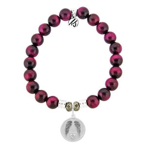 T. Jazelle Pink Tiger's Eye Stone Bracelet with Guardian Sterling Silver Charm